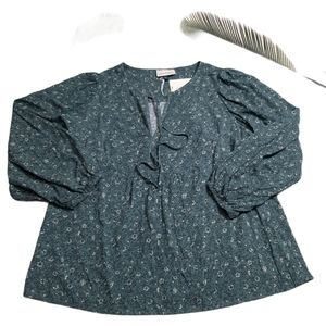 Universal Thread Goods Olive Green Floral Blouse L